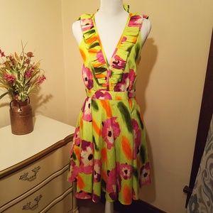 Andrew Marc Silk Sleeveless Ruffled Midi Dress